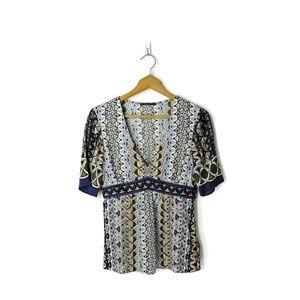 Elie Tahari silk v-neck geometric print blouse top